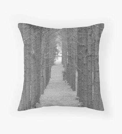 Pine Path BW Throw Pillow
