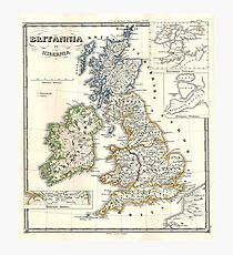 Vintage Map of The British Isles (1855) Photographic Print