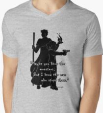 The Man Who Stops Monsters Mens V-Neck T-Shirt
