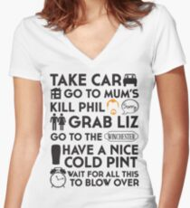 SHAUN OF THE DEAD THE PLAN Women's Fitted V-Neck T-Shirt