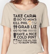 SHAUN OF THE DEAD THE PLAN Women's Relaxed Fit T-Shirt