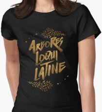 the trees speak latin Women's Fitted T-Shirt