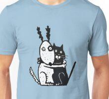Bullie Dog and Black Cat Unisex T-Shirt