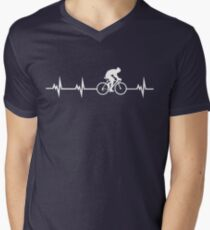 Cycling Heartbeat Men's V-Neck T-Shirt