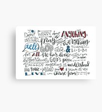 Philippians 4:6-7 NLT : Design 3 Canvas Print