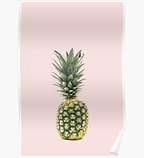 Gold Pineapple with Pink Background Poster