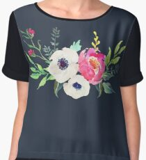 Anemone Peony Watercolor Bouquet Women's Chiffon Top