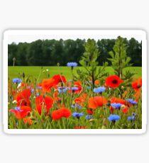 Poppies And Cornflowers Sticker