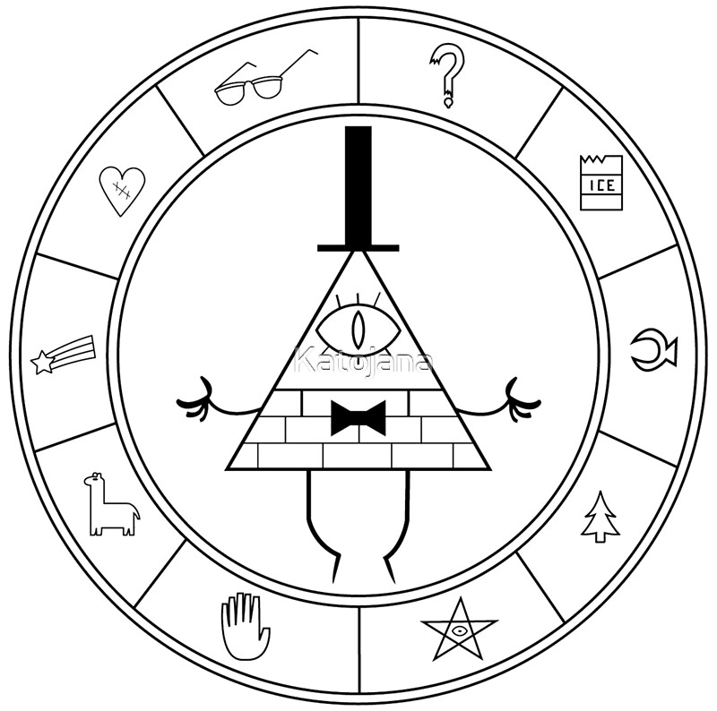 """Bill cipher coloring pages ~ """"Bill cipher summoning wheel"""" by Katojana 