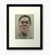 Charcoal sketch of smiling man Framed Print