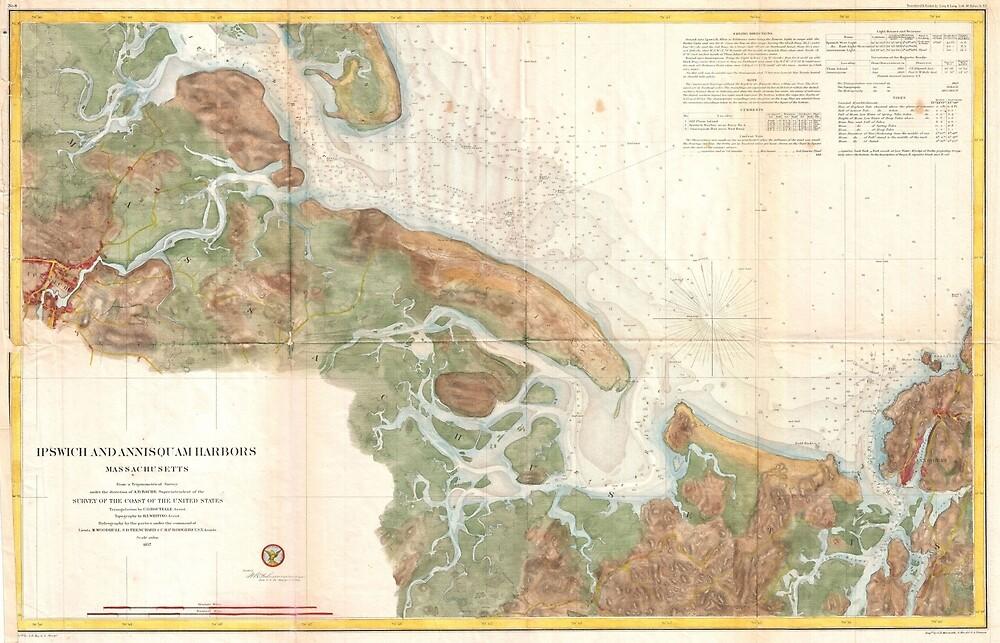«Mapa vintage de Ipswich y el puerto de Annisquam (1857)» de BravuraMedia