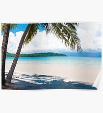 Exotic tropical beach with white sand and blue waters Poster