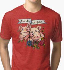 'Friends, not Food' Pig Veggie Vegan Illustration Tri-blend T-Shirt