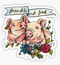 'Friends, not Food' Pig Veggie Vegan Illustration Sticker