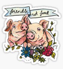 'Friends, not Food' Pig Veggie Vegan Illustration Sticker