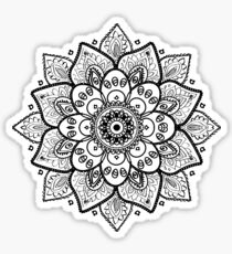 Black On White Floral Mandala Sticker