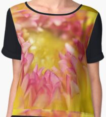 Pink and Yellow Dahlia, As Is Chiffon Top