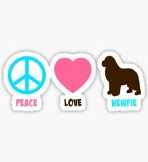 Peace. Love. Newfie Sticker