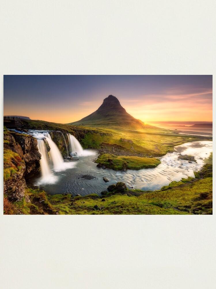Alternate view of Kirkjufellfoss, Iceland Photographic Print