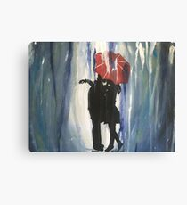 Kissing in the Rain Canvas Print