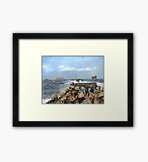 US Marines in a LCVP approaching Iwo Jima, Japan, 19 Feb 1945 Framed Print