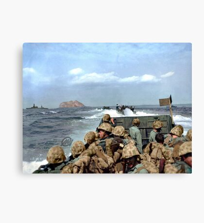 US Marines in a LCVP approaching Iwo Jima, Japan, 19 Feb 1945 Canvas Print