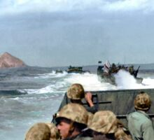 US Marines in a LCVP approaching Iwo Jima, Japan, 19 Feb 1945 Sticker