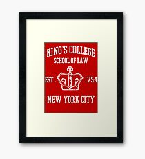 HAMILTON BROADWAY MUSICAL King's College School of Law Est. 1854 Greatest City in the World Framed Print