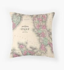 Vintage Map of Italy (1864) Throw Pillow