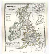 Vintage Map of The British Isles (1865) Poster