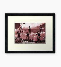 Gdansk Cranes in red  Framed Print