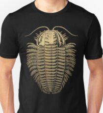 Fossil Record - Golden Trilobite on Black #1 Unisex T-Shirt