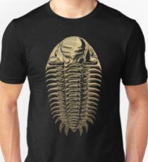 Fossil Record - Golden Trilobite on Black #3 Unisex T-Shirt