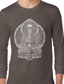 Skeleton Buddha White Halftone Long Sleeve T-Shirt