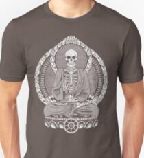 Skeleton Buddha White Halftone T-Shirt