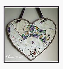 Crazy Quilt Heart With Embroidery Stitches For Friend Photographic Print