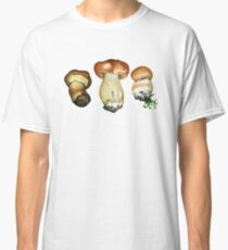 Wild mushrooms. Hand drawn watercolor painting Classic T-Shirt