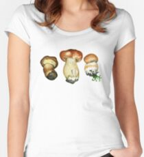 Wild mushrooms. Hand drawn watercolor painting Women's Fitted Scoop T-Shirt