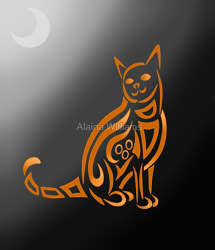 Halloween Cat Tribal by Alaina Williams