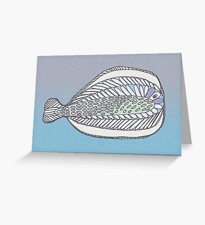 Funny Flat Fish Greeting Card