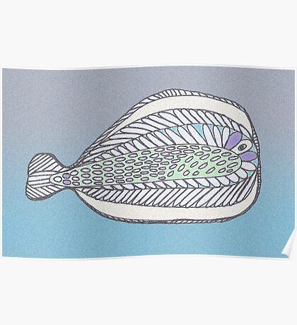 Funny Flat Fish Poster