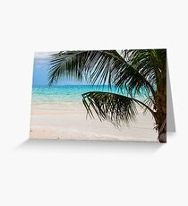 Exotic tropical beach with white sand and blue waters Greeting Card