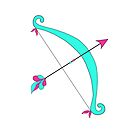 Pink and teal Bow and Arrow by Michelle *