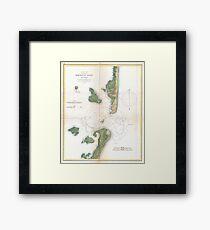 Vintage Map of The Barnegat Inlet (1865) Framed Print