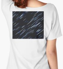 METEOR, SHOWER, Cosmic, Cosmos, Space, Texture, Dark, Black, Blue flash Women's Relaxed Fit T-Shirt