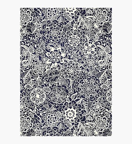 Lace on Nautical Navy Blue Photographic Print