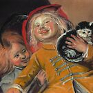 Laughing Children with Cat, after Judith Leyster by Pam Humbargar