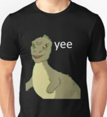 Yee [dinosaur maym :^)] (version 1, video quality, white text) Unisex T-Shirt