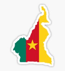 Cameroon Flag Map Sticker