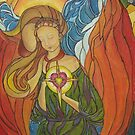 Radiating Love Angel Stained Glass Print by 1cscheid